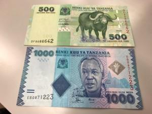 スワヒリ語が書かれているタンザニアの紙幣